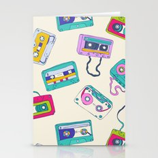 Vintage Cassette Tape Pattern Stationery Cards