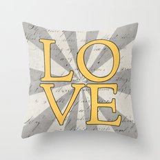love - yellow Throw Pillow