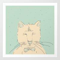 Cartoon cute cat think Art Print
