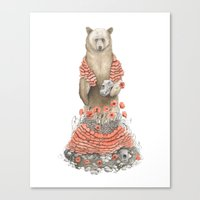 The Bear and the Poppies Canvas Print