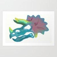 Prehistoric Paint Triceratops Art Print