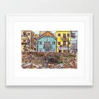 Buarcos Buildings, Portugal Framed Art Print
