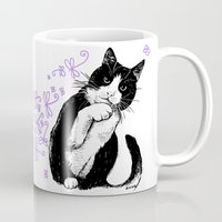 Tuxedo cat and dragonflies Mug
