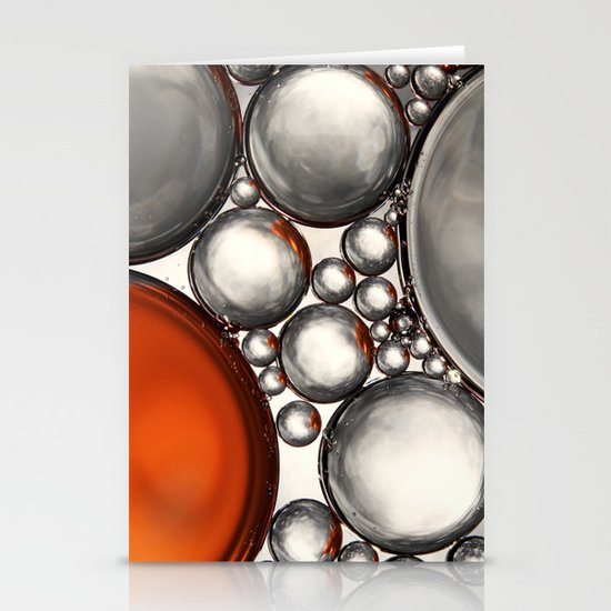 Mercury and Bronze Bubble Abstract Stationery Card