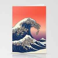 The Great Wave of Sloth Stationery Cards
