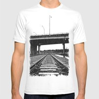 Nalley Train Tracks Mens Fitted Tee White SMALL