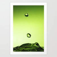 Green water drops Art Print