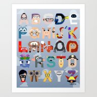 Art Print featuring P Is For Pixar (Pixar Al… by Mike Boon