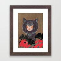 Fox Spirit Kitsune In Gi… Framed Art Print