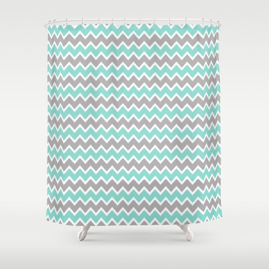 Aqua Turquoise Blue And Grey Gray Chevron Shower Curtain By Decampstudios Society6