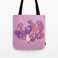 Purple Paisley Peacock Tote Bag