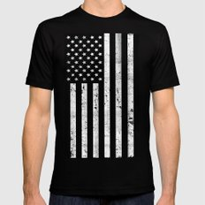 Dirty Vintage Black and White American Flag Mens Fitted Tee Black SMALL