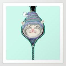 Cat in the zip Art Print