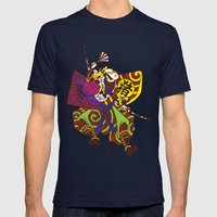Samurai With Vintage Jap… Mens Fitted Tee Navy SMALL