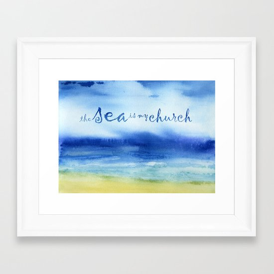 The Sea Is My Church (text) Framed Art Print