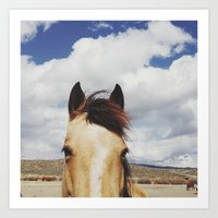 horse Art Prints featuring Cloudy Horse Head by Kevin Russ