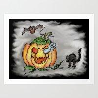 Bat, Ghost And Cat, Happ… Art Print