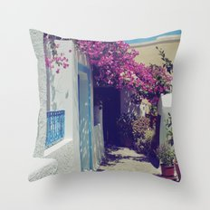 Santorini Walkway VI Throw Pillow
