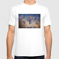 Stars World Map. Blue Mens Fitted Tee White SMALL