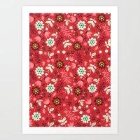 Fresh Blossoms (Reds) Art Print