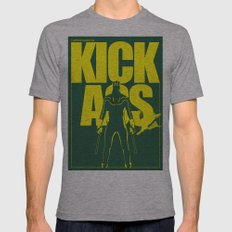 KICK ASS Mens Fitted Tee Athletic Grey SMALL