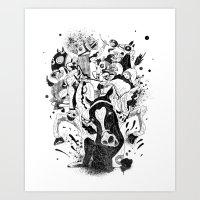 The Great Horse Race! B&… Art Print