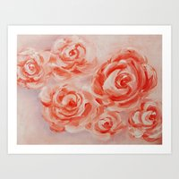 Floating Roses Art Print