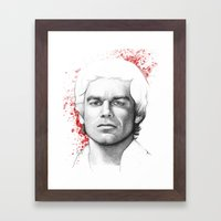 Dexter Morgan Portrait, Blood Splatters Framed Art Print