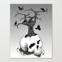 Skull And Tree Canvas Print