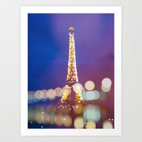 Eiffel tower by night Art Print