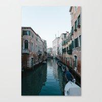 Empty boats in Venice Canvas Print
