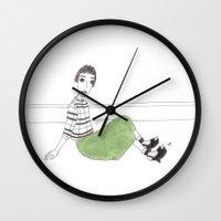 girl on the floor Wall Clock