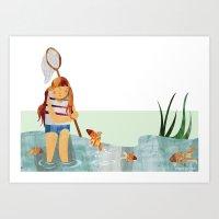Fishpond Art Print