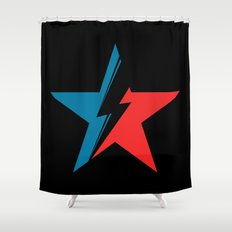 Bowie Star black Shower Curtain