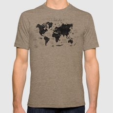 The World Map Mens Fitted Tee Tri-Coffee SMALL