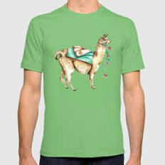 Watercolor Llama Mens Fitted Tee Grass SMALL
