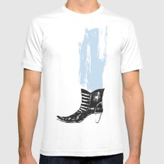 the boot goes on White Mens Fitted Tee SMALL