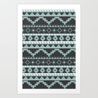 Aztec Pattern 2 Gray & Teal Art Print