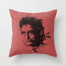 Johnny Cash botanical portrait Throw Pillow
