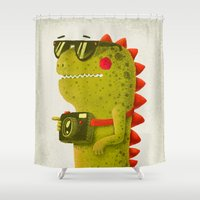 Dino touristo (olive) Shower Curtain