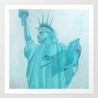 BROOKLYN LIBERTYsquared - metal print Art Print