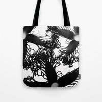 Three Black Flowers Tote Bag