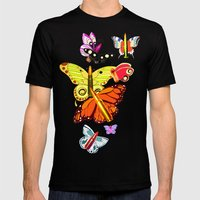 Bullet with Butterfly Wings Mens Fitted Tee Black SMALL