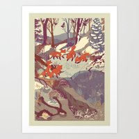 fox Art Prints featuring Fisher Fox by Teagan White