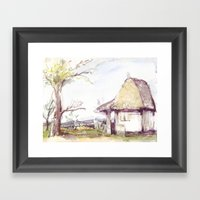 Romanian Watercolor Framed Art Print