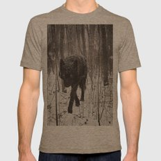Snow Wolf Mens Fitted Tee Tri-Coffee SMALL