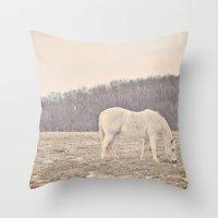 Pretty White Pony  Throw Pillow