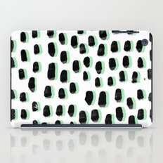 Shift pattern mint pastel black and white minimal dots painting brushstrokes modern art dorm college iPad Case