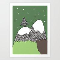 Cimes de montagnes Art Print
