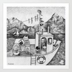 Fox On Fishing-boat Art Print